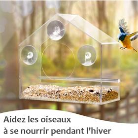 Mangeoire transparente avec ventouses - le moineau