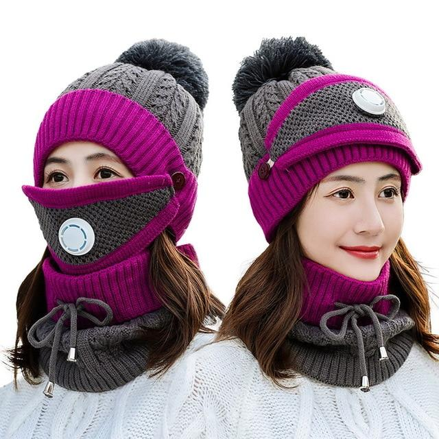 Ensemble d'hiver bonnet + écharpe femme